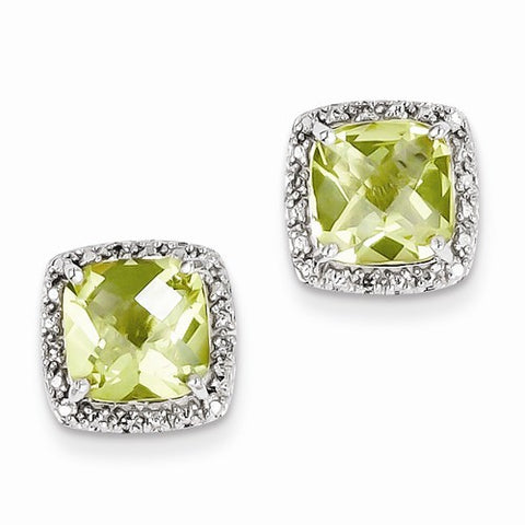Sterling Silver Diamond Earrings Lemon Quartz