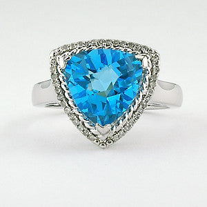 Sterling & Diamond Blue Topaz Ring