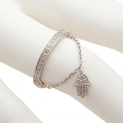 Sterling Silver Diamond Hamsa Ring