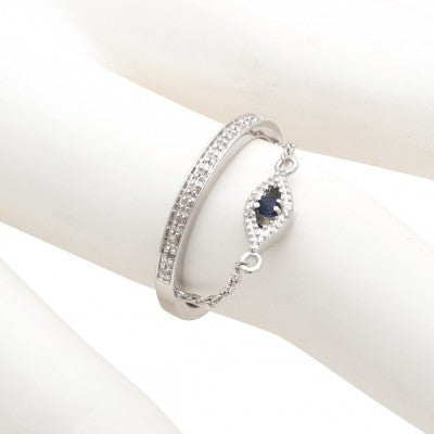 Sterling Silver Diamond  Evil Eye Ring