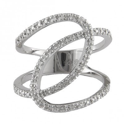 Sterling Silver Diamond Double Loop Ring