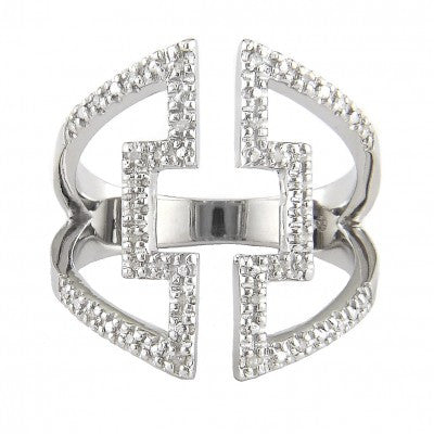 Sterling Silver Diamond Open Square Ring