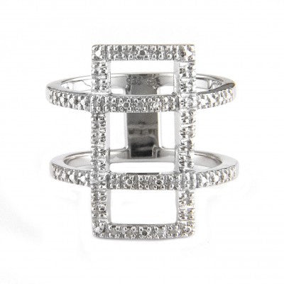 Sterling Silver Diamond Rectangle Ring