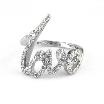Sterling Sliver & Diamond Love Ring