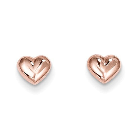 14K Earrings Rose Gold Hearts
