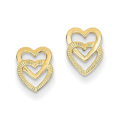 14K Earrings Double Hearts