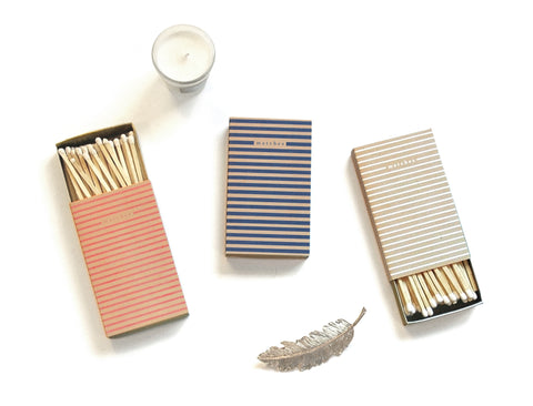 Set of 3 Striped Large Matchboxes