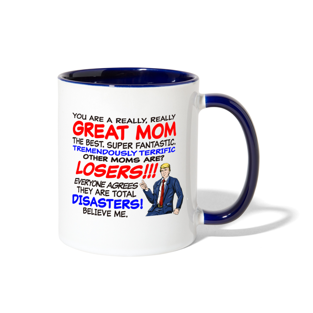 Trump Happy Mother's Day Best Mom Ever Mug - white/cobalt blue