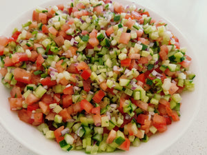 Shirazi Salad. Cucumber, tomato, red onion salad recipe. persian salad recipe. Summer salads. Raw salads.