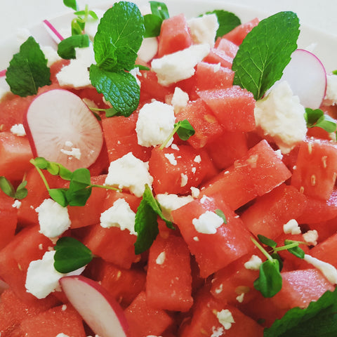 Light salad recipes. Spring summer eating. Watermelon
