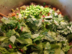 peas, rainbow chard, kale. Home grown garden to table. Roar Living, easy recipes