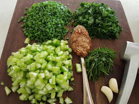 Easy pasta salad recipe. BBQ, party food. chopped, celery, parsley, mint, shallots.