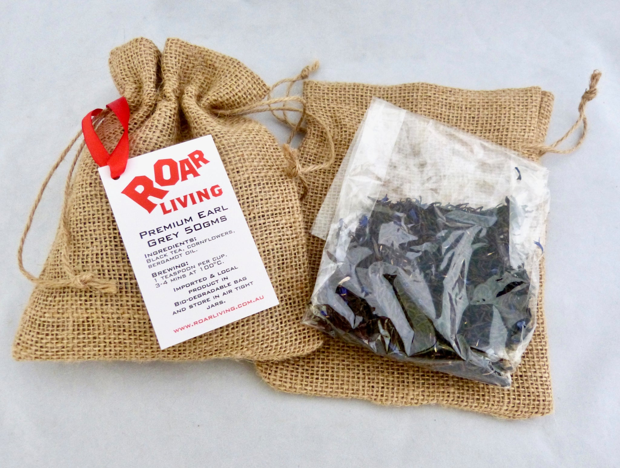Earl grey. Earl grey tea leaves. premium tea leaves. Iced tea recipe. compostable bag. Hassian bag