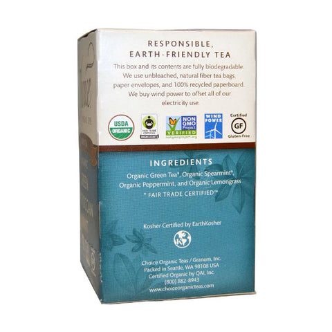 Choice Organic Teas Green Tea Organic Green Moroccan Mint 16 Tea Bags 0.8oz or 24g
