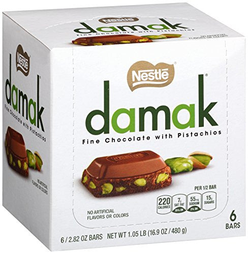 Nestle Damak Fine Chocolate with Pistachios 480g or 16.9oz (6-pack)