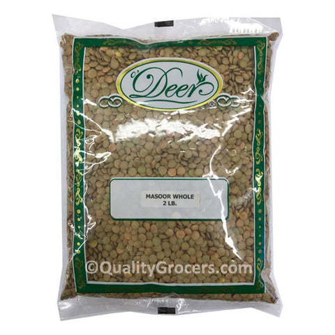 Deer Whole Masoor Dal Whole Green Lentils 2LB
