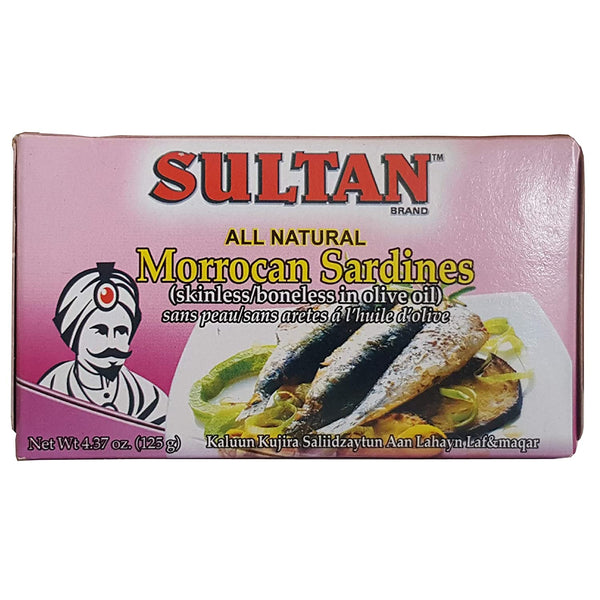 Sultan Moroccan Sardines Boneless and Skinless in Olive Oil 4.37oz Can