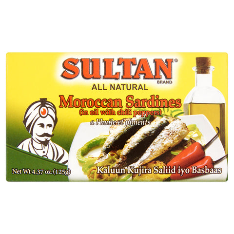 Sultan Moroccan Sardines Hot 4.37oz Can
