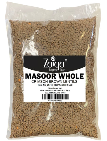 Zaiqa Masoor Whole (Desi) Crimson Brown Lentils 2LB
