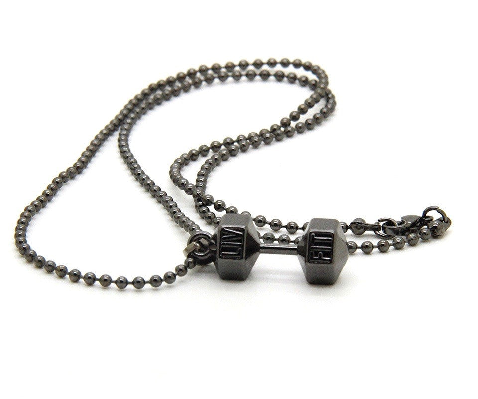 LIV FIT™ Dumbbell Necklace (Gun Metal)