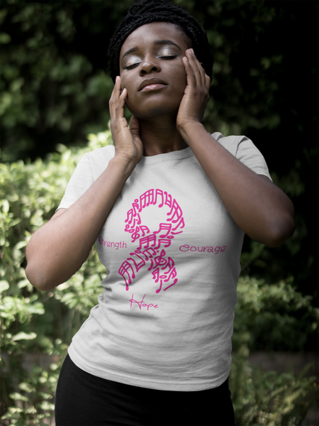 "Women's Breast Cancer Awareness ""Music Note"" Tee"