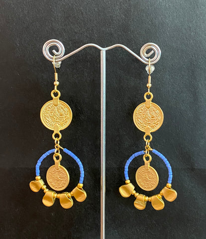 Isle & Tribe - Gold Sabra Coin Earrings - Perwinkle