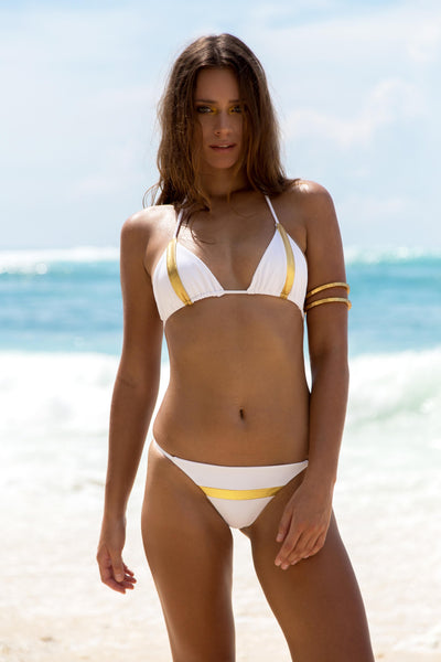 DJUNAH Nusa Triangle Bikini Top White/Gold