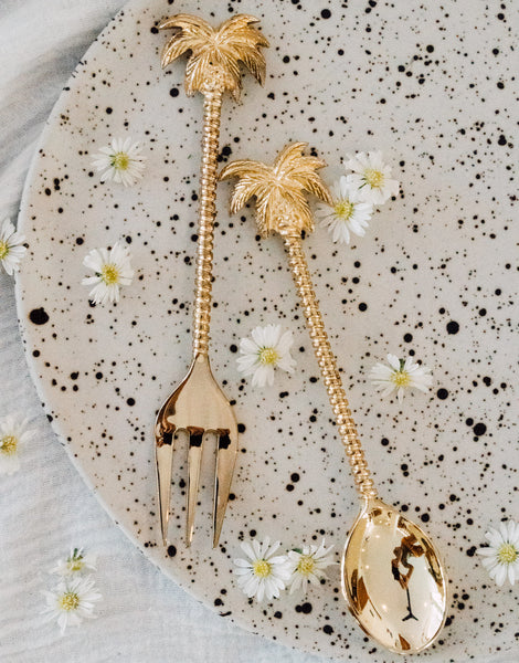 Palm Tree Gold Spoon and Fork Set
