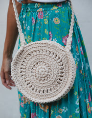 ULU DEW ROUND MACRAME CREAM BAG, ULU THE LABEL - kinilush