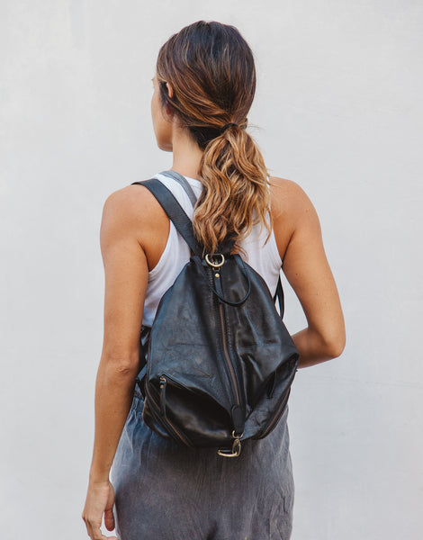ULU MAIA BLACK LEATHER BACKPACK