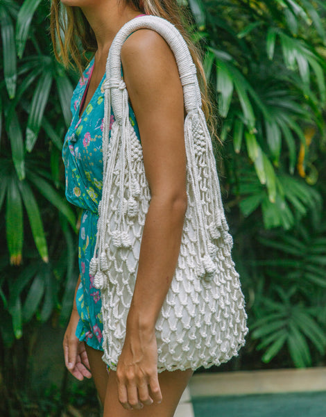 ULU KIMBERLY CREAM MACRAME BAG
