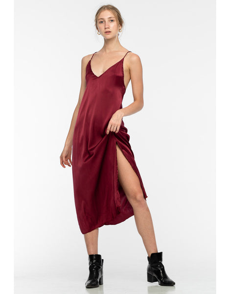 Rimmba Lily Midi Silk Maroon Dress