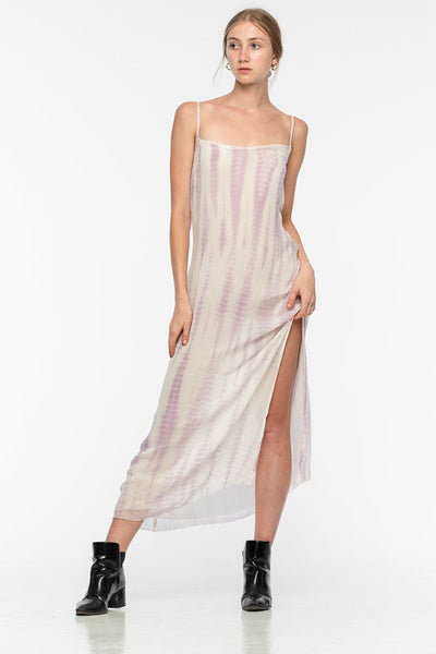 Rimmba Tahina Silk Chiffon Dress Tie-dye