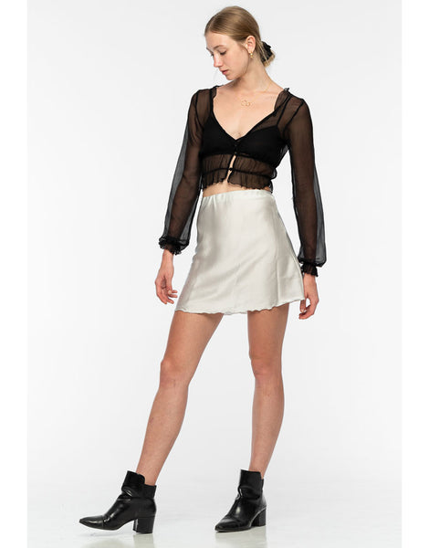 Rimmba Meeko Mini Silk Skirt Silver