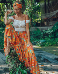 ULU FLORENCE MAXI SKIRT ORANGE BLOSSOM, ULU THE LABEL - kinilush