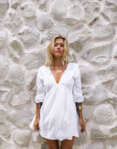 ELLA BARDOT BEACH DRESS WHITE