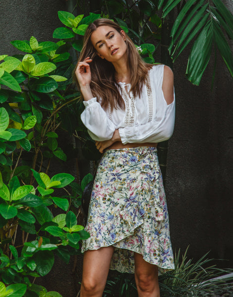 ULU CORA WRAP SKIRT MORNING BLOOM