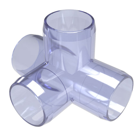 1-1/4 in. Clear 4-Way Tee PVC Fitting (Box of 25)