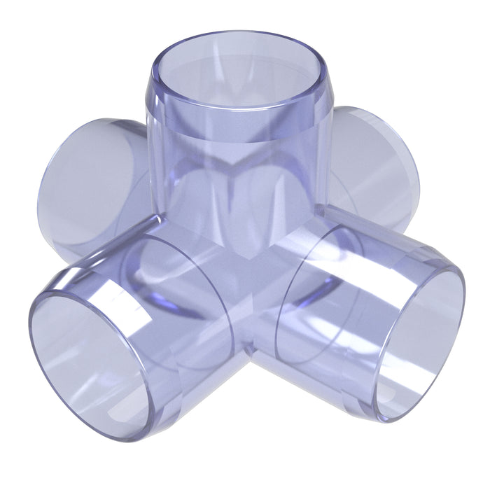 1-1/4 in. 5-Way Cross Clear PVC Fitting (Box of 25)