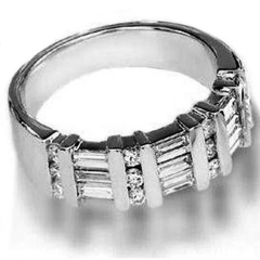 Baguette round diamond ring band