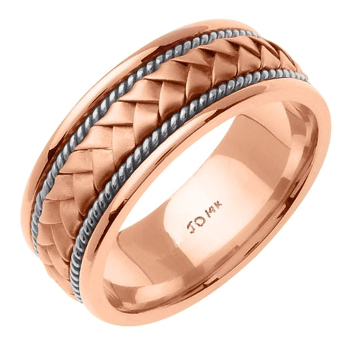 Rose/White 14k Hand Braided Cord Ring Band