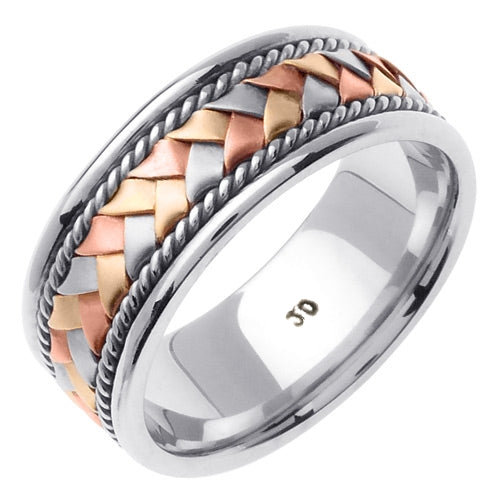 Silver/Tri-color or Silver/White 14k Hand Braided Cord Ring Band