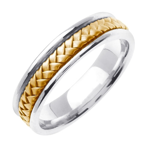 18K White/Yellow or White/Rose Hand Braided Ring Band