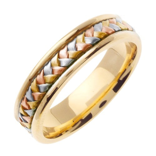18K Yellow/Tricolor or Yellow/Rose Hand Braided Ring Band