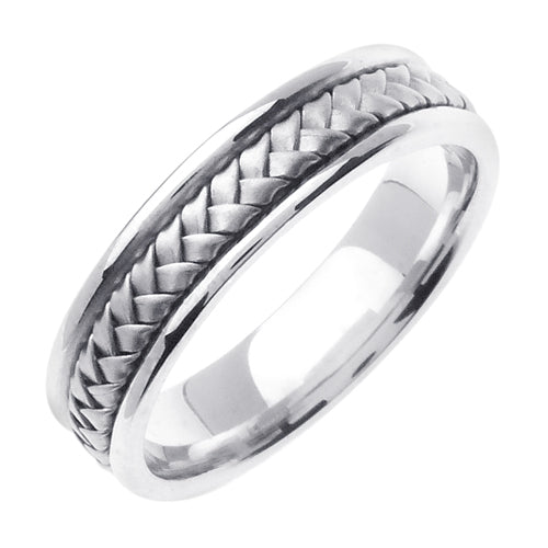14K Titanium/Tricolor or Titanium/White Hand Braided Ring Band