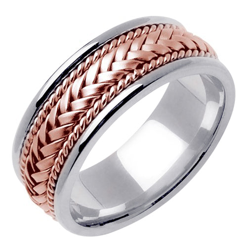 Silver/White or Silver/Rose 14k Gold Hand Braided Ring Band