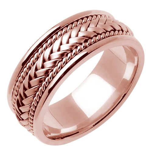 18k Rose or White/Rose Hand Braided Ring Band