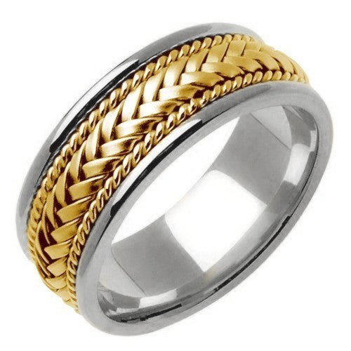 Titanium/Yellow or Titanium/Tri-color 14k Gold Hand Braided Ring Band
