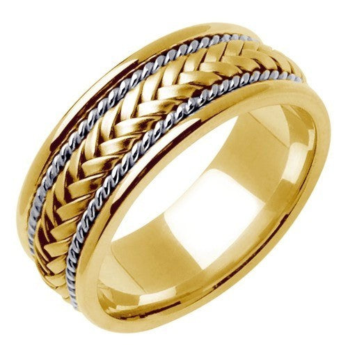 18k Yellow/White Ropes or White/Rose Ropes Hand Braided Ring Band