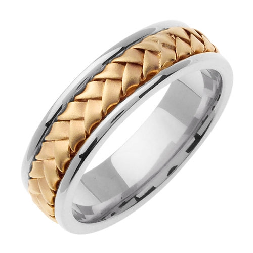 14k White/Yellow or White/Rose Gold Wedding Band for Men and Women